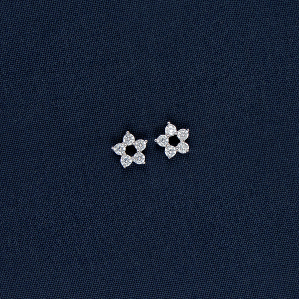 Star-Shaped Silver Earrings with Stone Inlays
