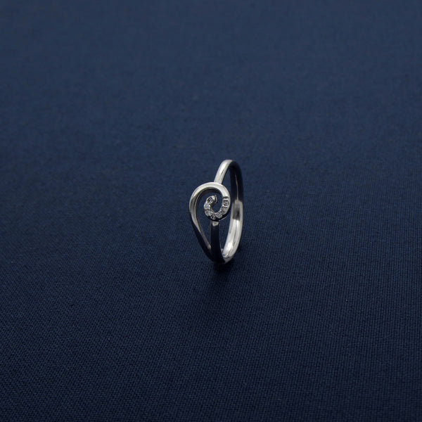 Shell Shaped Silver Sparkling Ring
