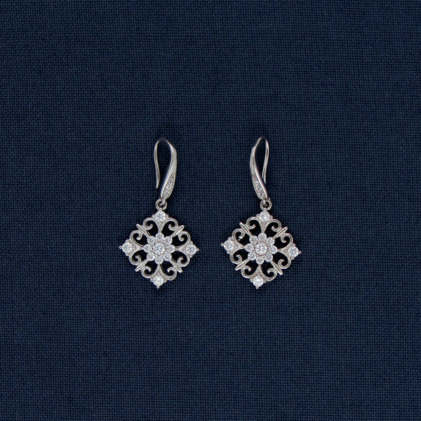 Sparkling-Shaped Earrings with Stone Inlays