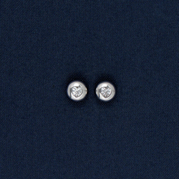 Silver Round Earrings/Pendant with a Heart-Shaped Stone Embedded
