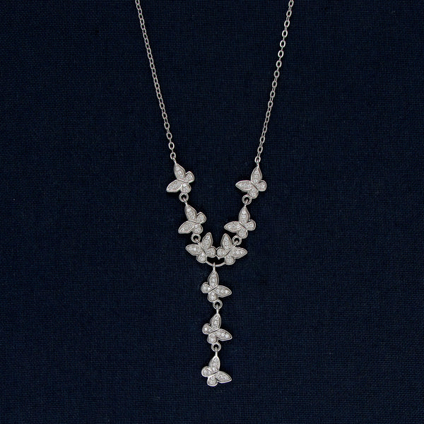 Beautiful Butterfly Shaped Silver Necklace
