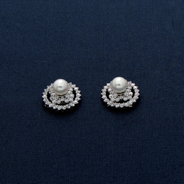 Sun-shaped Silver Stud Earrings/Pendant with a Gem Center