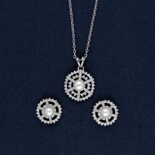 Sterling Silver Round Pendant and Earrings