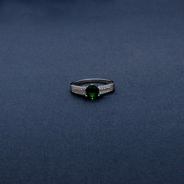 Simple Studded Green Stone Silver Ring