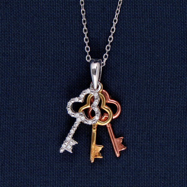 Three Keys Beauty in Silver Pendant with Small Chain