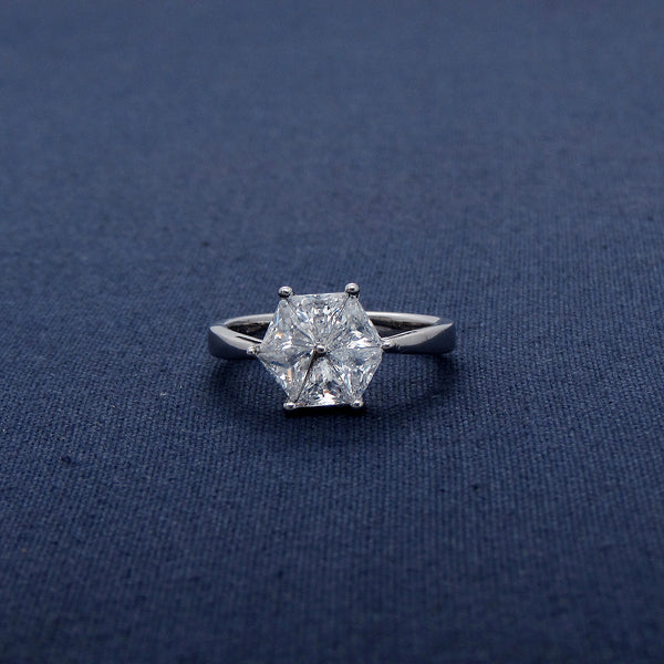 Six Connected Triangle Sterling Silver CZ ring