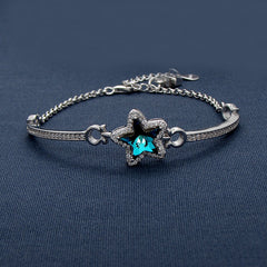 Blue Twinkler Covered With Tiny Sparkling Stones Silver Bracelet