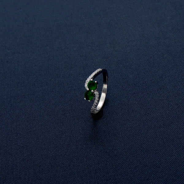 Thin Bodied Silver Studded Ring with Dual Green Stones