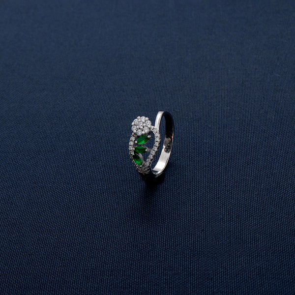 Silver Studded Ring with Light Green Petal Stones