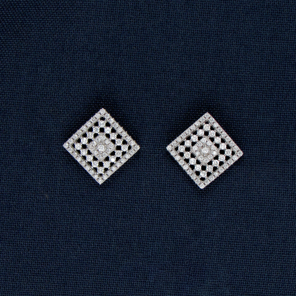 Square On Square Silver Earrings And Pendant
