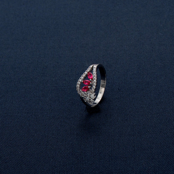 Sterling Silver Ring Petal Shaped Beautiful colored Stones