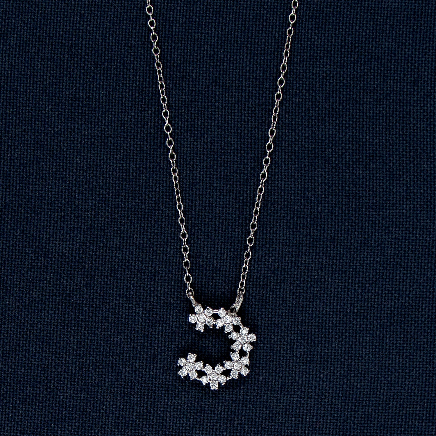 Buy Inverted C Design Silver Pendant With Tiny Sparkling Stones