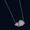 Blooming Flower in Sterling Silver Pendant with Sparkling Stones