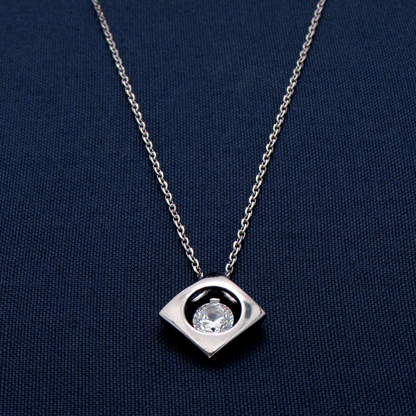 Sparkling Silver Design Pendant with a Sparkling Stone Center