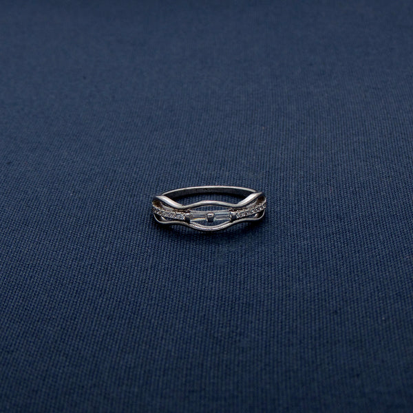Studded Silver Ring with Wavy Design