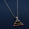 Triple Multicolor Triangles Silver Pendant