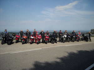Motorcycle tour group riding