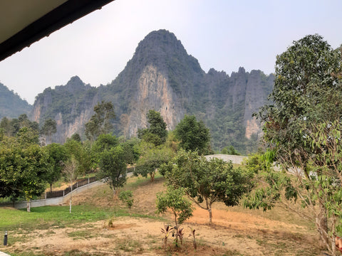 Thailand and Laos Motorcycle Tour - View from hotel in Vang Vieng