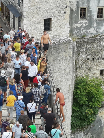The famous Bridge Divers at Mostar - Balkans Motorcycle Tour