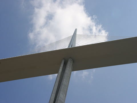 Millau Bridge from underneath.  Bridge in the Sky Motorcycle Tour