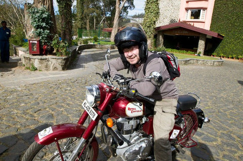 Peter on his trusty Enfield
