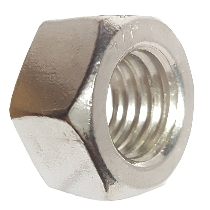 7/8-14 Finished Hex Nuts, Stainless Steel 18-8, Plain Finish, Quantity 10