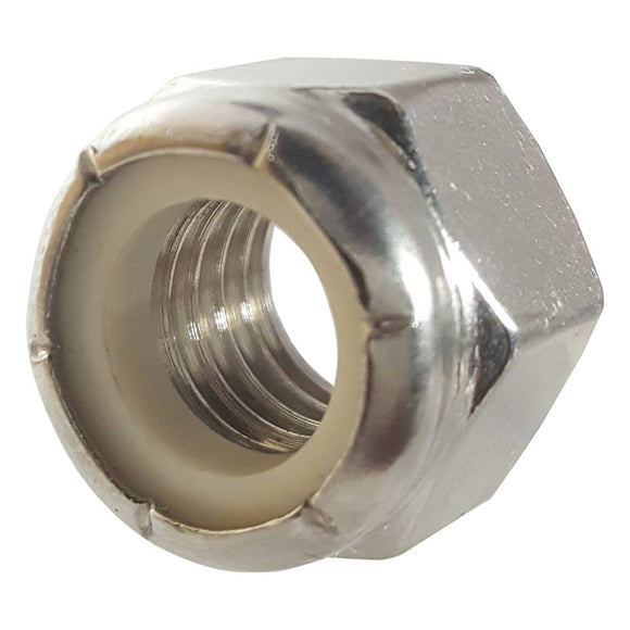 9/16-12 Nylon Lock Nuts Stainless Steel 18-8 Qty 10