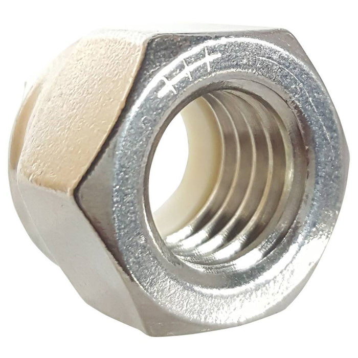 1-8 Nylon Lock Nuts Stainless Steel 18-8 Qty 5
