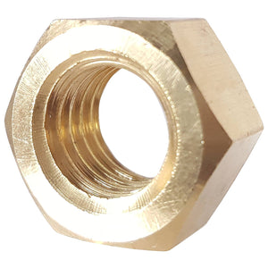 7/16-14 Finished Hex Nuts Solid Brass Grade 360 Plain Finish Quantity 10