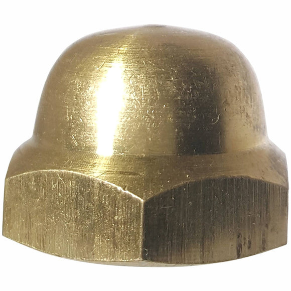 3/8-16 Hex Cap Nuts Solid Brass Grade 360 Commercial Plain Finish Quantity 25