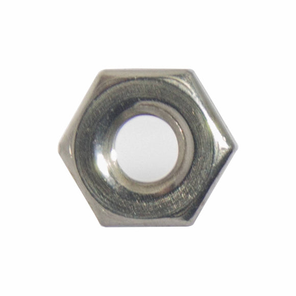 8-32 Machine Screw Hex Nuts, Stainless Steel 18-8, Bright Finish, Quantity 100