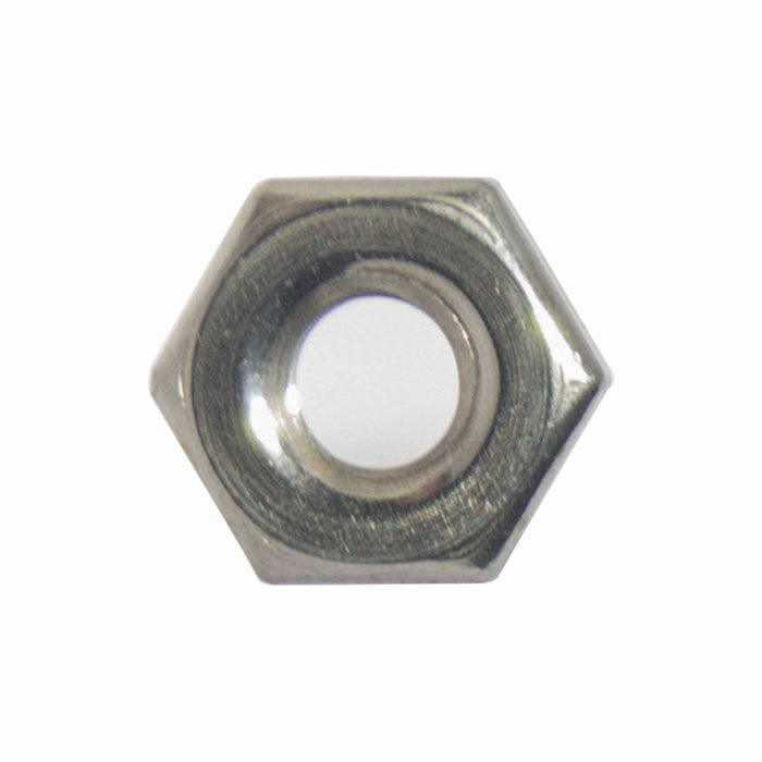 12-24 Machine Screw Hex Nuts, Stainless Steel 18-8, Bright Finish, Quantity 100