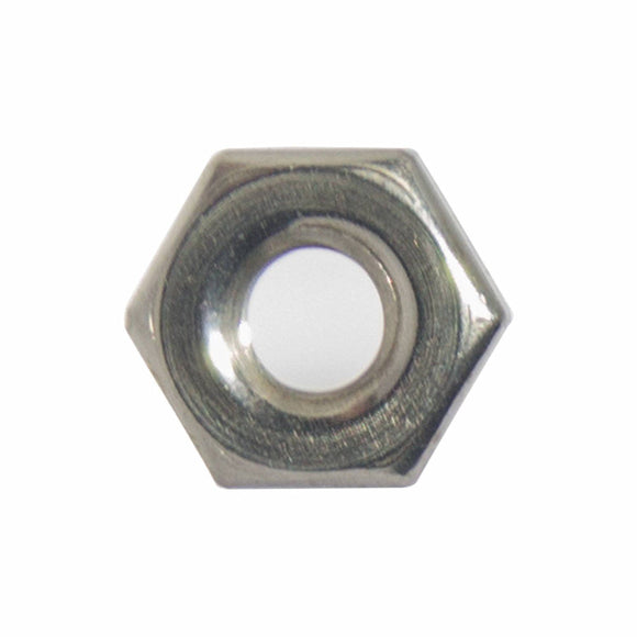 1-72 Machine Screw Hex Nuts, Stainless Steel 18-8, Bright Finish, Quantity 100