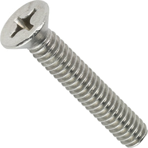 "1/4-20 x 2-1/2"" Phillips Flat Head Machine Screws Stainless Steel 18-8 Qty 25"