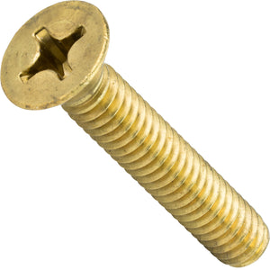 "8-32 x 1/2"" Solid Brass Machine Screws Flat Head Phillips Drive Quantity 50"