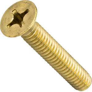 "1/4-20 x 2"" Solid Brass Machine Screws Flat Head Phillips Drive Quantity 10"