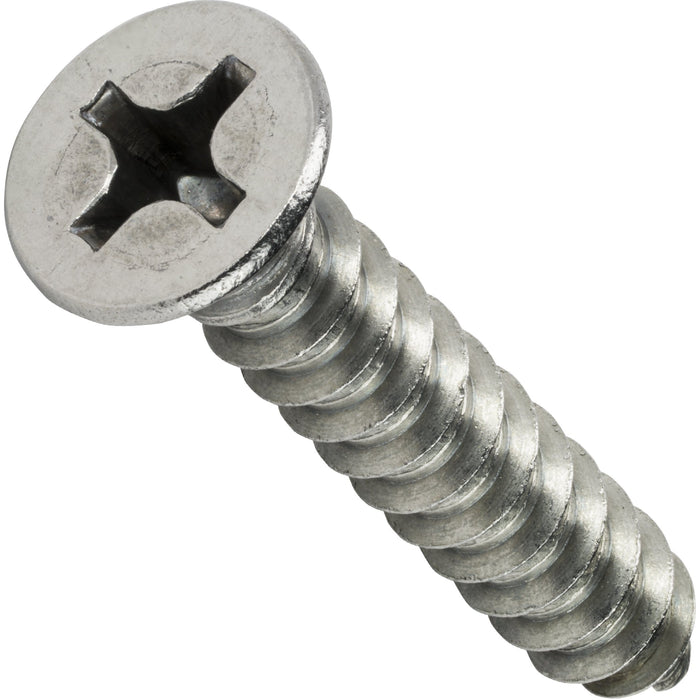 "#8 x 2-1/2"" Phillips Flat Head Sheet Metal Screws Stainless Steel 18-8 Qty 50"