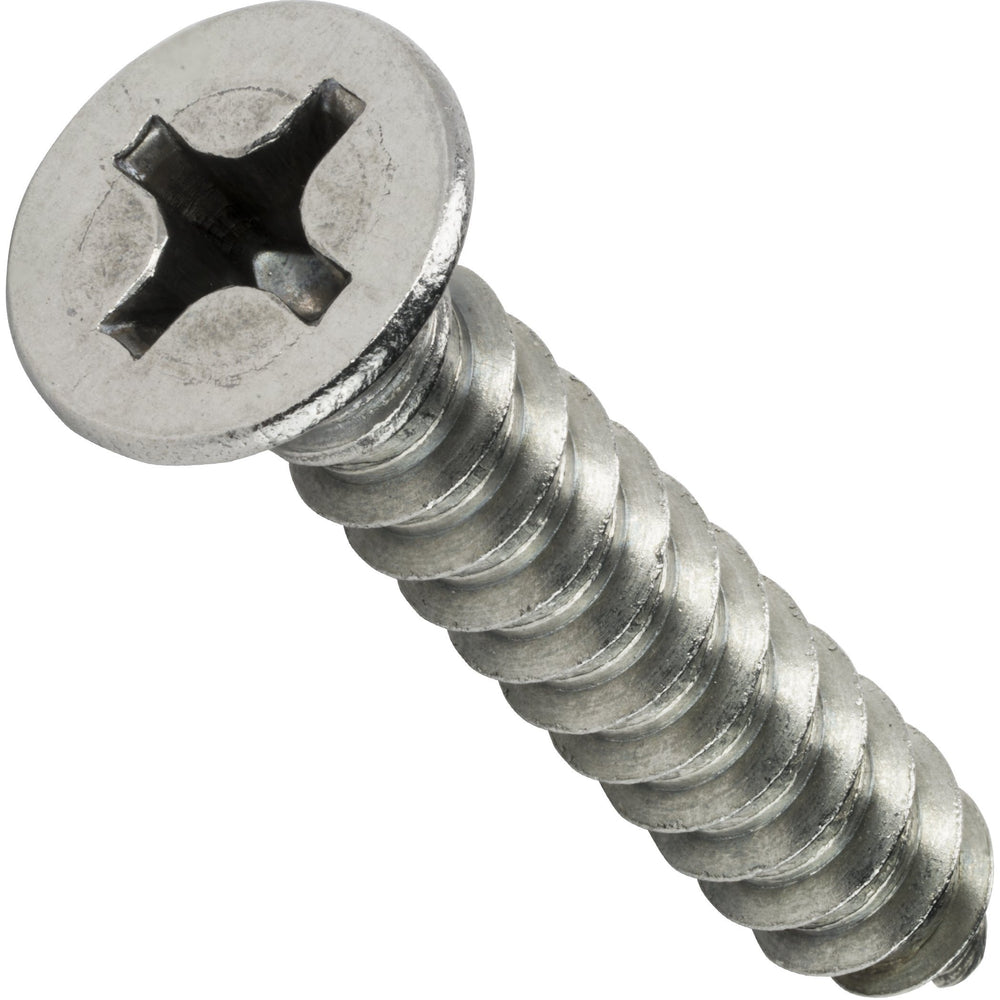 "#12 x 1-3/4"" Phillips Flat Head Sheet Metal Screws Stainless Steel 18-8 Qty 50"