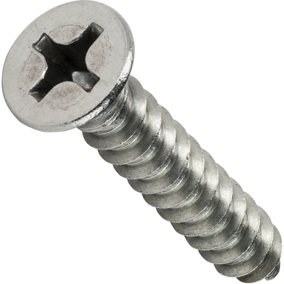 "#0 x 1/8"" Phillips Flat Head Sheet Metal Screws Stainless Steel 18-8 Qty 50 - Fastenere"