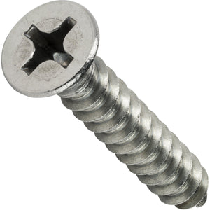 "#14 x 1-1/4"" Phillips Flat Head Sheet Metal Screws Stainless Steel 18-8 Qty 50"