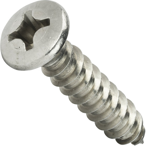 "#10 x 1"" Phillips Oval Head Sheet Metal Screws Stainless Steel 18-8 Qty 100 - Fastenere"