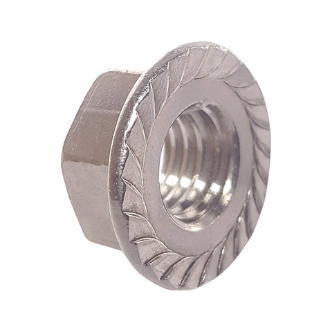 3/8-24 Serrated Flange Lock Nuts Stainless Steel 304 Bright Finish Quantity 25