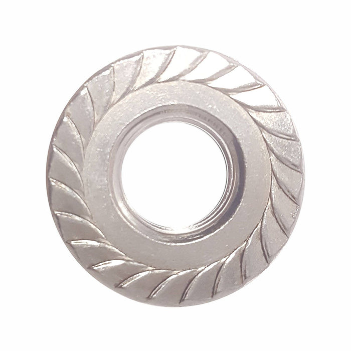 1/2-20 Serrated Flange Lock Nuts Stainless Steel 304 Bright Finish Quantity 10