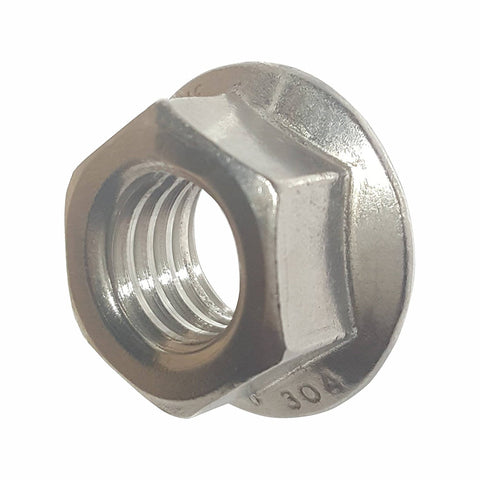 10-32 Serrated Flange Lock Nuts Stainless Steel 304 Bright Finish Quantity 100