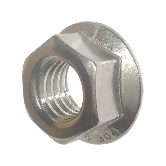 1/4-20 Serrated Flange Lock Nuts Stainless Steel 304 Bright Finish Quantity 50