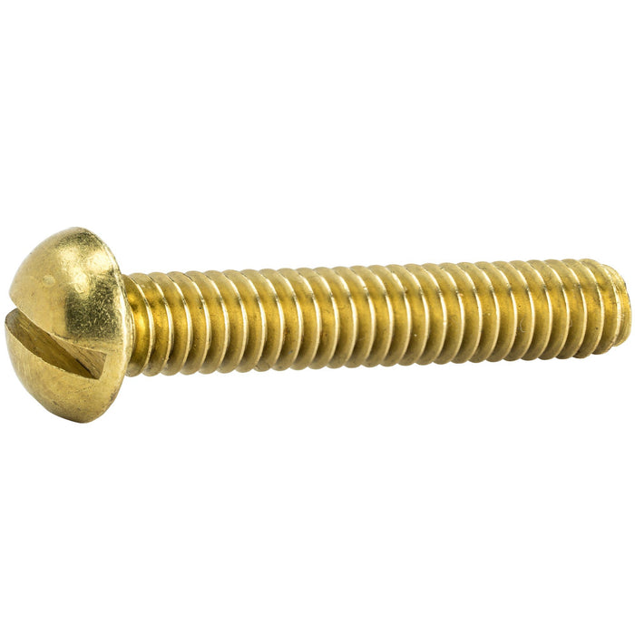 "1/4-20 x 1"" Brass Machine Screws Bolts Round Head Slotted Drive Qty 25"