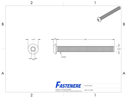 "1/4-20 x 2-1/2"" Button Head Socket Cap Screws Stainless Steel 18-8 Qty 25 Socket Drive Screws Fastenere"