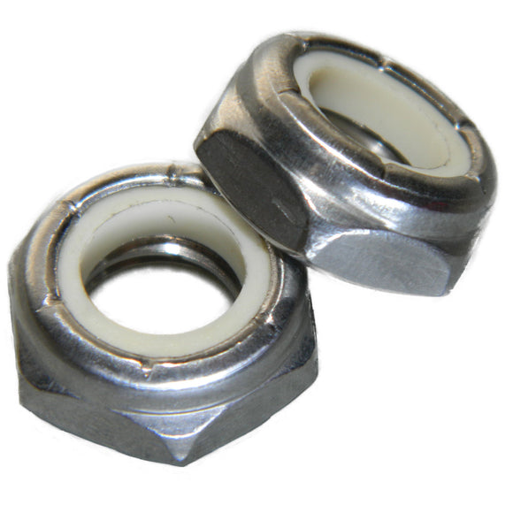 10-32 Thin Nylon Insert Jam Lock Nuts Stainless Steel 18-8 Qty 25