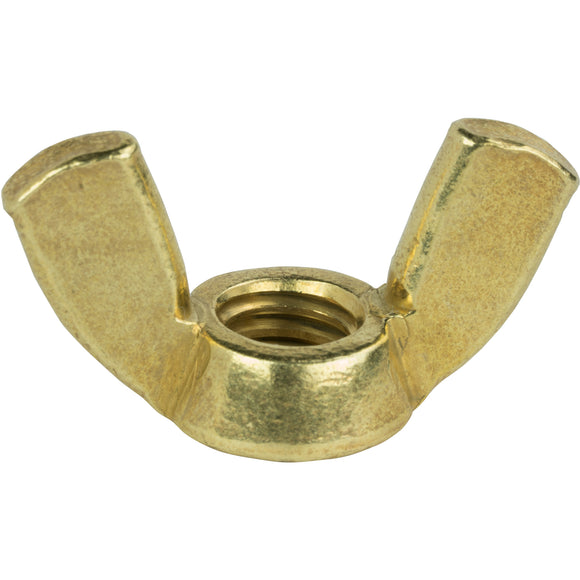 5/16-18 Wing Nuts, Solid Brass, Grade 360, Plain Finish, Quantity 25