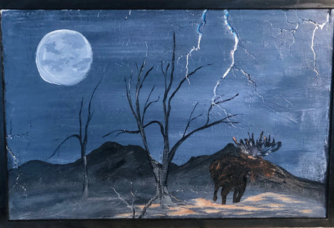 """Moose in the Moon""  Fractal Burned Wood Art"